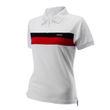 Head Club Women Sterry Poloshirt weiss/rot Tennisbekleidung